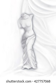 Venus on the pleated background classical digital painting