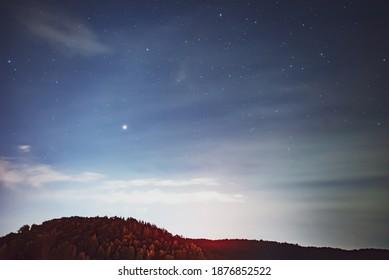Venus planet  in the night sky.