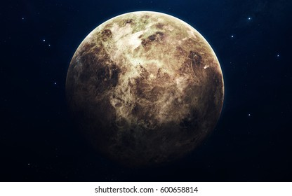 Venus - planets of the Solar system in high quality. Science wallpaper. Elements furnished by NASA