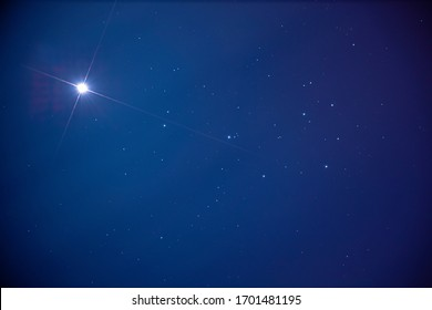 Venus and the Pleiades in the twilight sky