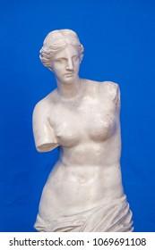 venus sculpture isolated in blue