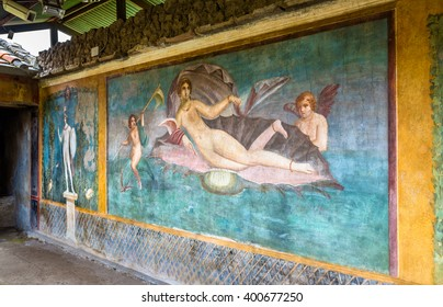 Venus in the shell, an ancient roman fresco in Pompeii, Italy