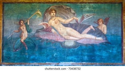 Venus in the shell ancient roman fresco in Pompeii, Italy