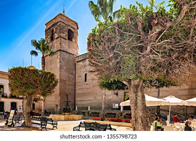 Vera, Almeria, Spain. Circa March 2019. View of main church of Vera and town hall building on Main square, in the province of Almeria, southern Spain.