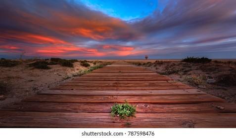 Vera beach at sunset