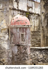 Veracruz, Mexico - April 25, 2015: A detail in the architecture with a watch tower and stairs in San Juan de Ulúa prison-museum.