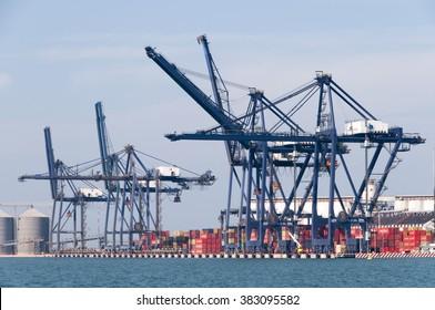 VERACRUZ, MEXICO - JANUARY 19, 2015:View of the port of Veracruz on January 19,2015 Mexico