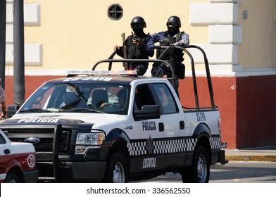 VERACRUZ, MEXICO -JANUARY 19.2015:antidrug special foreces police on January 19,2015 in Veracruz,Mexico