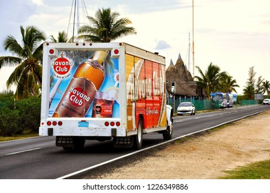 Veradero, Cuba - February 1, 2010:   Havana Club rum truck drives through the main highway to supply the resorts in the area.