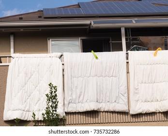 Veranda dried Japanese bedding