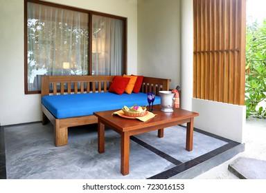 Verandah prepared for romantic date at resort