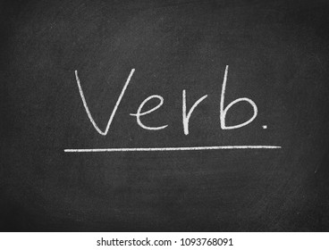 verb concept word on a blackboard background