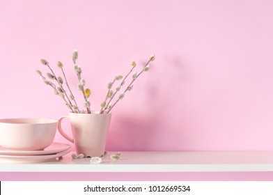 Verba, willow fur seals in a vase on a pink wall background and on a white shelf. Home light decor. Valentine's Day, Easter, Mother's Day Background.
