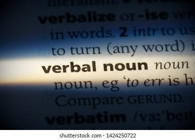verbal noun word in a dictionary. verbal noun concept, definition.