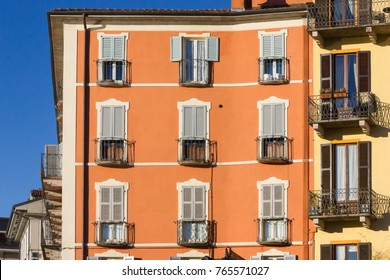 verbania lago maggiore facades and places in italy spring sunny morning with bright strong colors under blue mediterranean sky