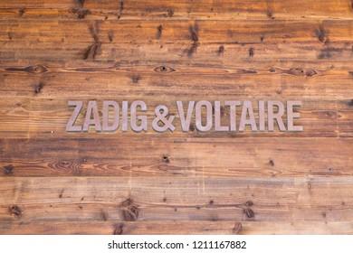 Verbier/Switzerland- 09.09.18 : Zadig & Voltaire clothe brand logo shop boutique