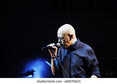 VERCELLI, ITALY - JUNE 4, 2017: Italian band Decibel's singer Enrico Ruggeri in live performance at Kennedy Park in Vercelli