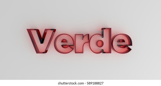 Verde - Red glass text on white background - 3D rendered royalty free stock image.