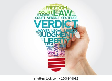Verdict bulb word cloud collage with marker, law concept background