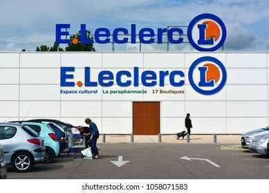 VERDUN, FRANCE - AUGUST 16, 2017: Double logo on branch of E. Leclerc Supermarket. Leclerc is a French cooperative society and hypermarket chain.