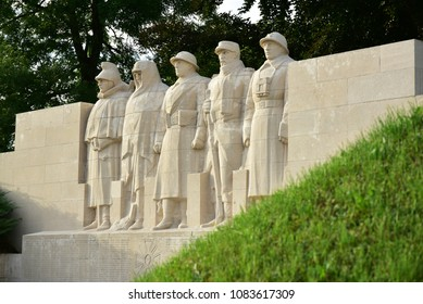 VERDUN, FRANCE - AUGUST 16, 2017: The Monument aux Morts (also called the Five Defenders of Verdun) Sons of Verdun.