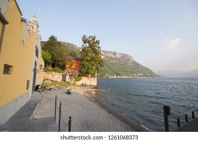 VERENNA LOMBARDY ITALY ON APRIL 2017: Varenna village in Como lake Lombardy Italy