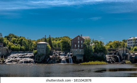 Vergennes, VT, USA. September, 4, 2020. The falls, as seen from Falls park,\ in Vergennes, VT.