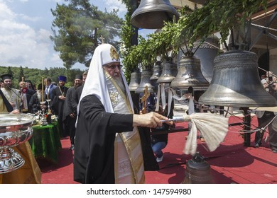 VERIA,GREECE -JUNE,7: Patriarch Kirill opened a monument to St. Paul. In the Panagia monastery, he blessed the bells for the church of St. Luke under construction in Veria, Greece on June 7,2013