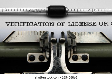 Verification of license on typewriter