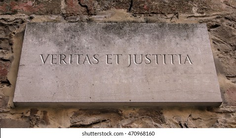 Veritas et Justitia. A Latin phrase meaning truth and Justice. Albright Collegeâ?? s motto. Engraved.