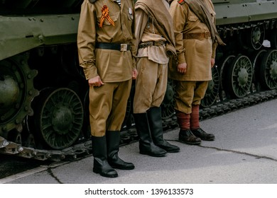 VERKHNYAYA PYSHMA, RUSSIA - 9 MAY 2019: The clothes of a Soviet soldier during the great Patriotic war with fascist 1941-1945, boots and puttees
