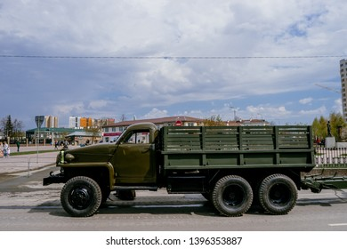 VERKHNYAYA PYSHMA, RUSSIA - 9 MAY 2019: Military truck Studebaker produced in the United States and put into service the USSR against the war with Hitler