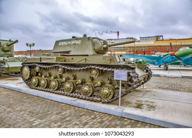 "VERKHNYAYA PYSHMA, RUSSIA - APRIL 11, 2018: Photo of Heavy flamethrower tank KV-8. Museum of military equipment ""Battle Glory of the Urals."""