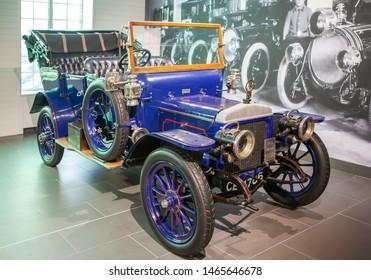 "VERKHNYAYA PYSHMA, RUSSIA - JUNE 12, 2019: Photo of Daimler 30 hp Poppet Valve. Museum of automobile equipment UMMC ""XX century AUTO""."