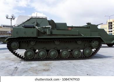 Verkhnyaya Pyshma, Russia - March 01, 2018: Soviet self-propelled gun SU-76M in the museum of military equipment