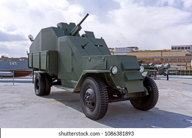 Verkhnyaya Pyshma, Russia - May 01, 2018: improvised armored vehicle IZ of Leningrad People's Militia Army, based on the Soviet truck ZIS-5, in the museum of military equipment