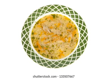 vermicelli soup on a white background