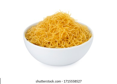 Vermicelli, vermicelli in white bowl, on white background (Tr- tel sehriye)
