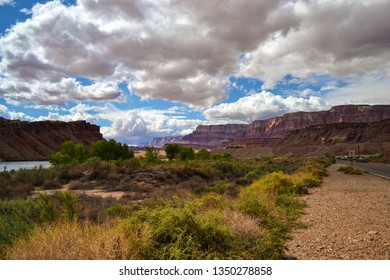Vermilion Cliffs At Lee's Ferry Arizona on The Colorado River With Cloudy Sky, Where Grand Canyon Begins