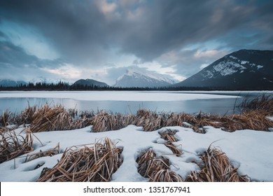 Vermilion Lakes are just outside of the town of Banff, these lakes offer spectacular views of the iconic Mt. Rundle and is a popular place to watch the sunrise and sunset. Travel Alberta, Canada