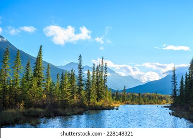 The Vermilion Lakes are a series of lakes located immediately west of Banff, Alberta, in the Canadian Rocky Mountains.