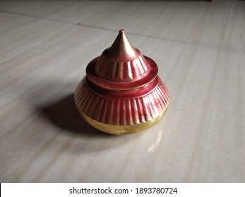 Vermilion pot selectively focused. Vermilion is most important and devotion tradition of a Indian married women in daily use.