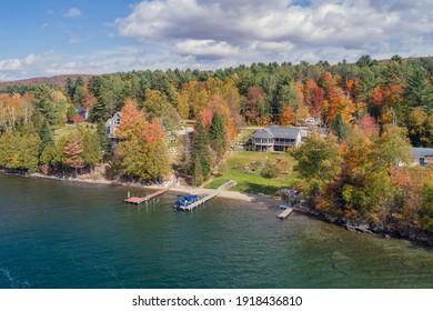 Vermont Lake House During Beautiful Fall Foliage Season