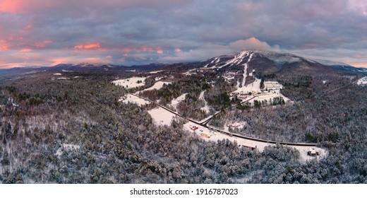 Vermont Ski Area Resort in Burke VT at Sunset