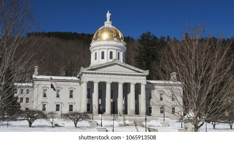 Vermont state capitol building clear winter day view montpelier usa