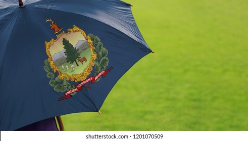 Vermont state flag umbrella. Closeup of a printed umbrella over green field/lawn background. Rainy weather / climate change and global warming concept.