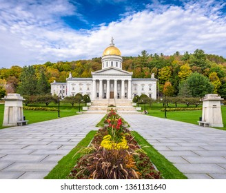 The Vermont State House in Montpelier, Vermont, USA in the afternoon.