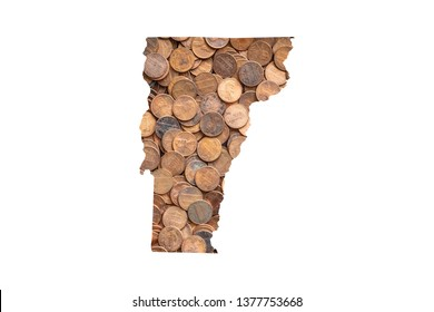 Vermont State Map and Money Concept, Piles of Coins, Pennies