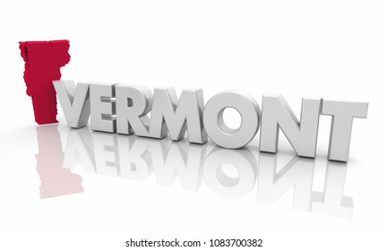 Vermont VT Red State Map Word 3d Illustration