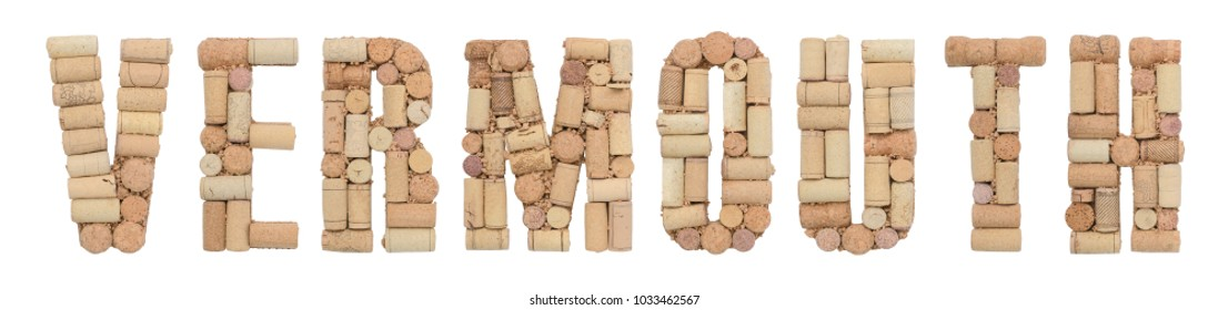 Vermouth made of wine corks Isolated on white background